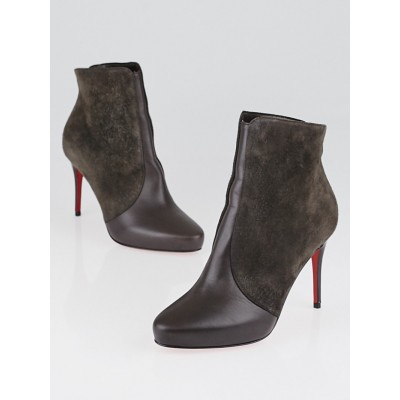 Christian Louboutin Taupe Suede and Calfskin Leather Gaetanina 85 Booties Size 3.5/34