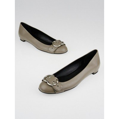 Gucci Grey Leather GG Buckle Ballet Flats Size 6/36.5