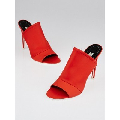 Balenciaga Red Leather Open-Toe Mule Sandals Size 9/39.5