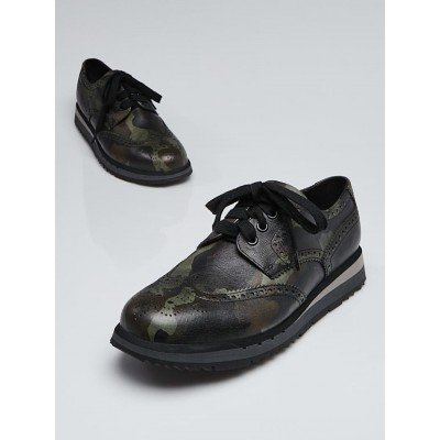 Prada Green/Black Camouflage Leather Wingtip Sneakers Size 6/36.5