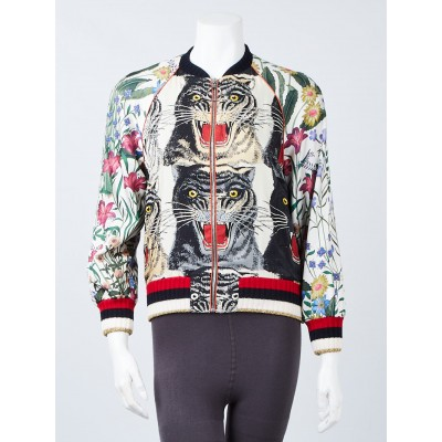 Gucci Multicolor Silk Printed Bomber Jacket Size 4/38