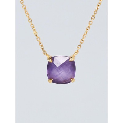 Tiffany & Co. 18k Yellow Gold and Amethyst Solitaire Pendant Necklace