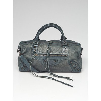 Balenciaga Anthracite Chevre Cross Perforated Leather Motorcycle Twiggy Bag