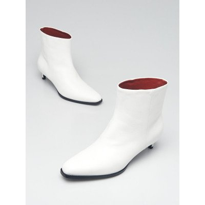 3.1 Phillip Lim White Leather Agatha Ankle Boots Size 4.5/35