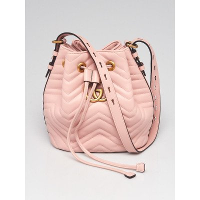 Gucci Pink Chevron Quilted Leather Marmont 2.0 Bucket Bag