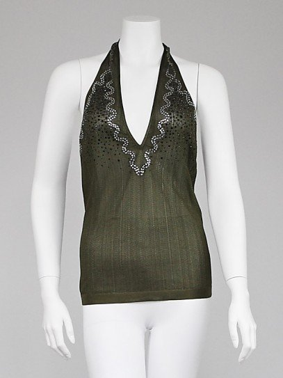 Yves Saint Laurent Green Knit Jeweled Halter Top Size Large