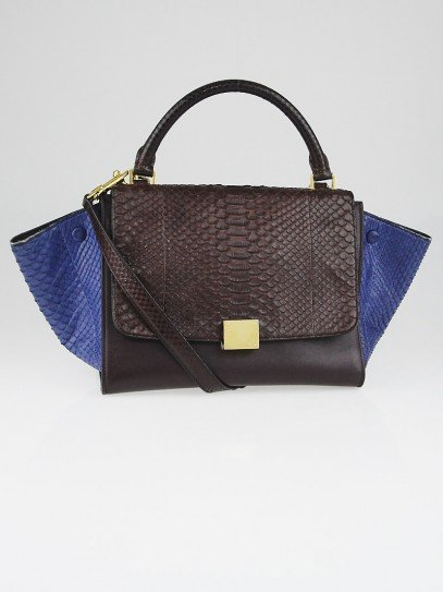 Celine Brown/Blue Python and Calfskin Leather Small Trapeze Bag