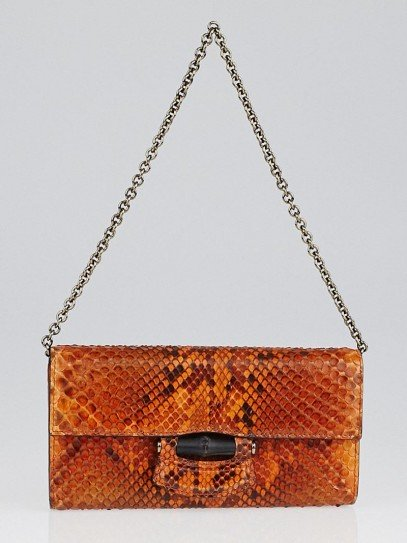 Gucci Orange Nouveau Python Chain Wallet Bag