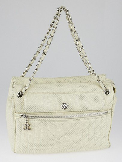 Chanel White Perforated Leather Large Tote Bag