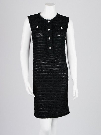 Chanel Black Nylon Blend Sheer Boucle Tunic Dress Size 4/38
