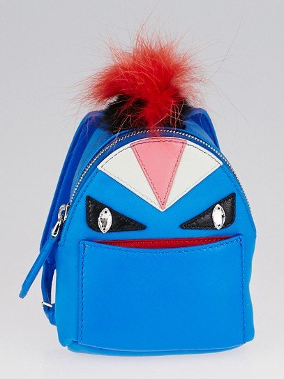 Fendi Blue Backpack Monster Eyes Fur Key Chain and Bag Charm 7AR457