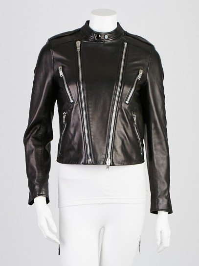 Yves Saint Laurent Black Lambskin Leather Biker Jacket Size 6