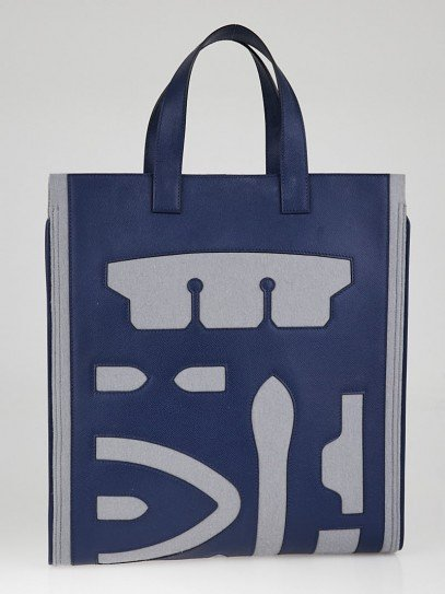 Hermes Grey/Blue Obscur Epsom Leather and Wool Petit H Skeleton Vertical Tote Bag
