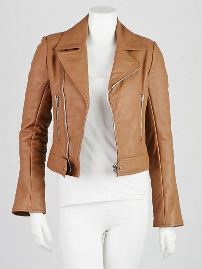 Balenciaga Brown Lambskin Leather Classic Biker Jacket Size 2/34