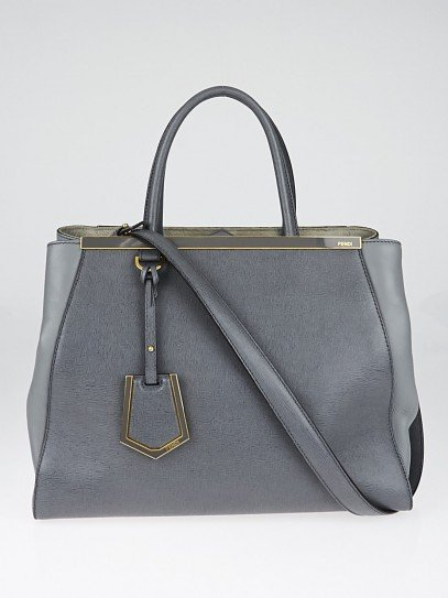 Fendi Grey Saffiano Leather Medium Sac 2jours Elite Tote Bag 8BH250