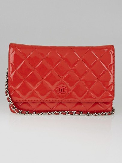 Chanel Pink Quilted Patent Leather CC WOC Clutch Bag