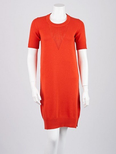 Hermes Rouge Vermillion Cashmere Sweater Dress Size 2/34