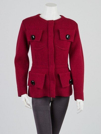 Louis Vuitton Red Wool/Cashmere Zip Cardigan Sweater Size M