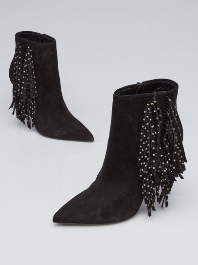 Yves Saint Laurent Black Suede Studded Fringe Booties Size 10/40.5