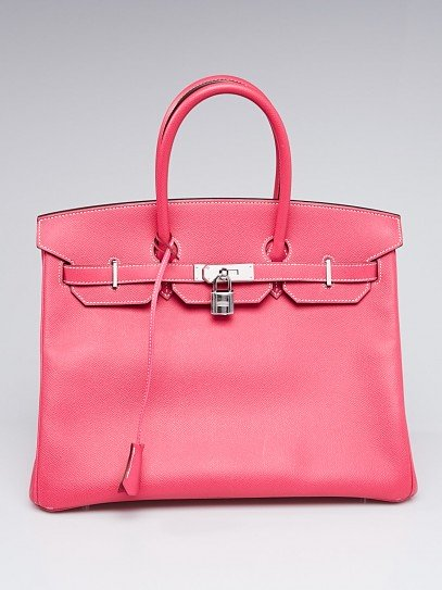 Hermes 35cm Rose Tyrien Epsom Leather Palladium Plated Birkin Bag