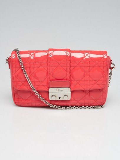 Christian Dior Pink Cannage Quilted Patent Leather New Lock Pouch Clutch Bag