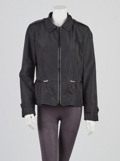 Burberry Black Polyester Short Peplum Jacket Size 8