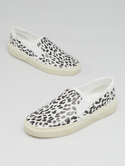 Yves Saint Laurent Black/White Animal Print Leather Slip On Sneakers Size 4/34.5