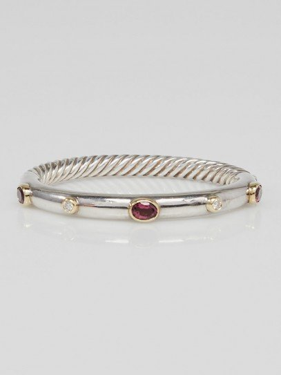 David Yurman Amethyst and Diamond Cable Bangle Bracelet