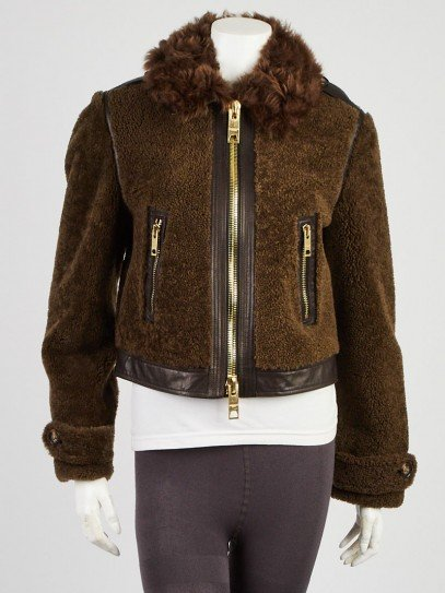 Burberry Green Shearling and Leather Zip Jacket Size 8/42