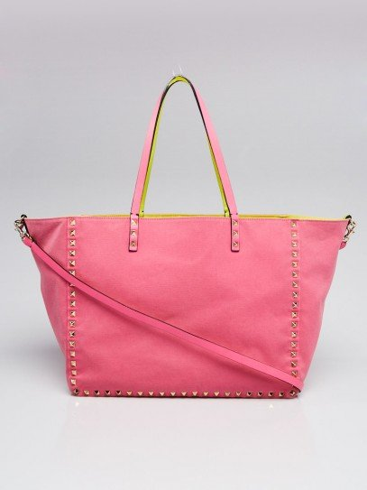 Valentino Pink/Yellow Canvas Reversible Medium Tote Bag