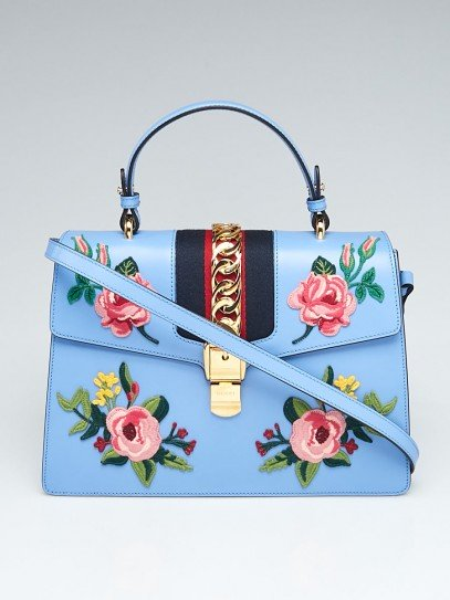 Gucci Blue Leather Floral Embroidered Medium Sylvie Top Handle Bag