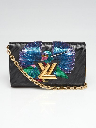 Louis Vuitton Black Epi Leather Sequin Bird PM Twist Bag