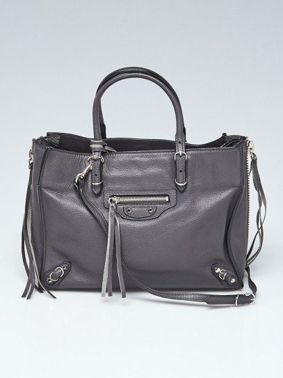 Balenciaga Gris Fossile Calfskin Leather Papier A6 Zip Around Tote Bag