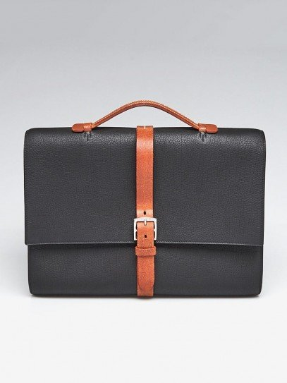 Hermes 38cm Black Fjord Leather Palladium Plated Etriviere Meeting Briefcase Bag