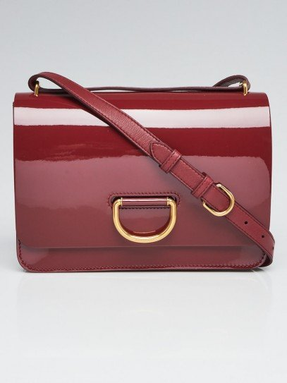 Burberry Red Patent Leather Medium D-Ring Crossbody Bag