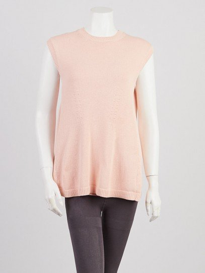 Balenciaga Pink Cotton Knit Sleeveless Sweater Tunic Size 2/36