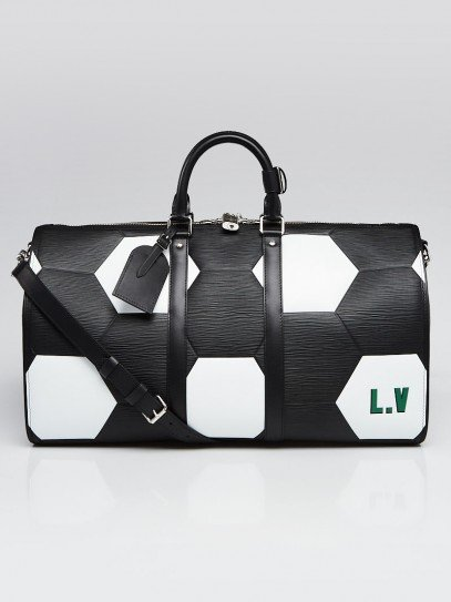 Louis Vuitton Limited Edition Black Epi Leather FIFA World Cup Keepall Bandouliere 50 Bag