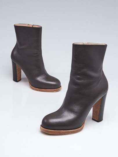 Celine Grey Leather Ankle Boots Size 7.5/38