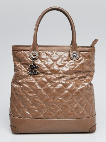 Chanel Brown Striated Quilted Coated Canvas Small Rue Cambon Tote Bag
