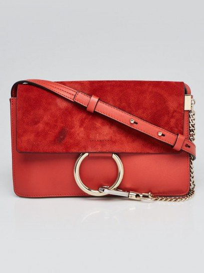 Chloe Red Leather and Suede Small Faye Bag