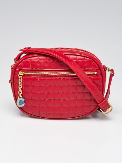 Celine Red Quilted Calfskin Leather C Charm Small Camera Bag