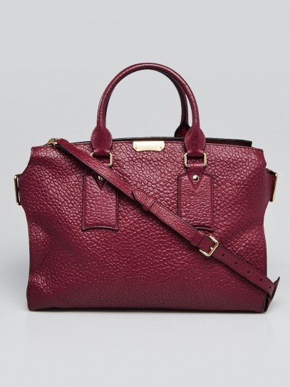 Burberry Burgundy Signature Grain Leather Large Clifton Bag