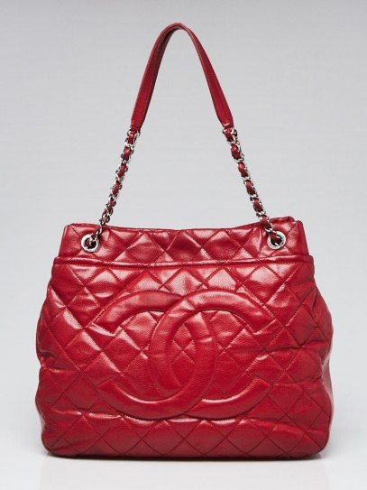 Chanel Red Quilted Caviar Leather Timeless CC Soft Large Shopping Tote Bag