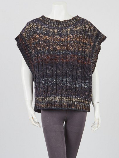 Chanel Multicolor Cable Knit Cashmere Blend Oversized Sweater Vest Size 6/40