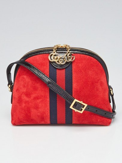 Gucci Red Suede and Patent Leather Vintage Web Ophidia Small Shoulder Bag