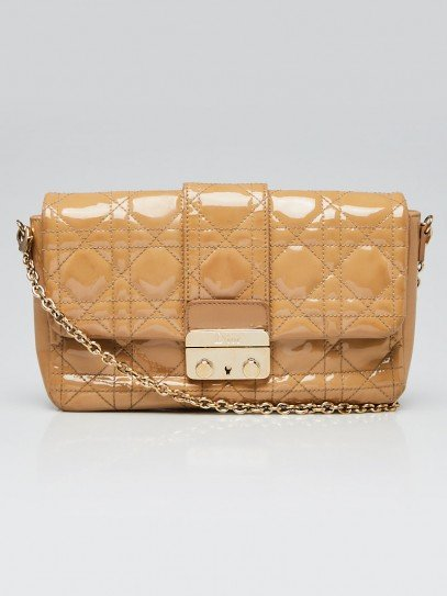 Christian Dior Beige Cannage Quilted Patent Leather Miss Dior Promenade Crossbody Clutch Bag