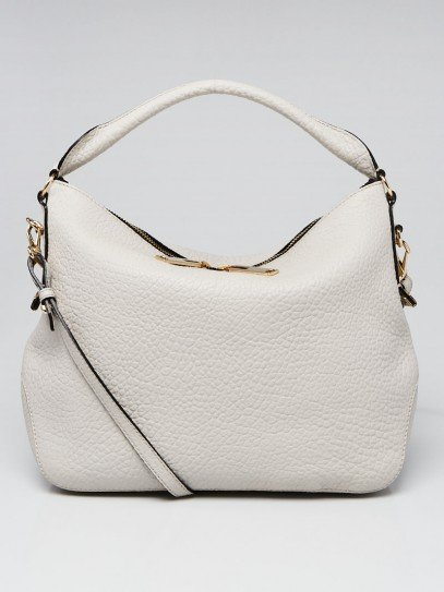 Burberry White Grain Leather Small Ledbury Hobo Bag