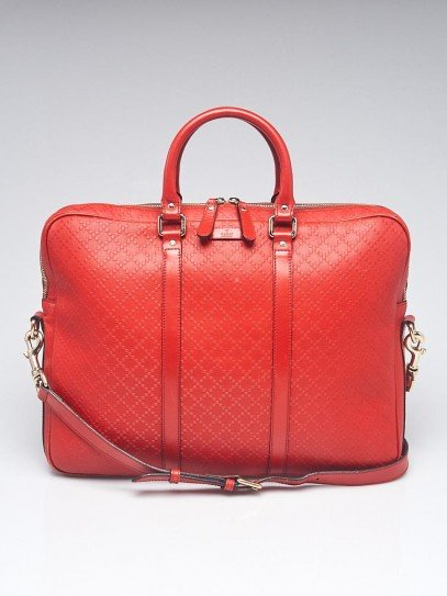 Gucci Red Diamante Textured Leather Briefcase Bag