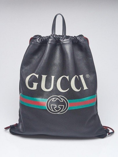 Gucci Black Leather Printed Large Drawstring Backpack