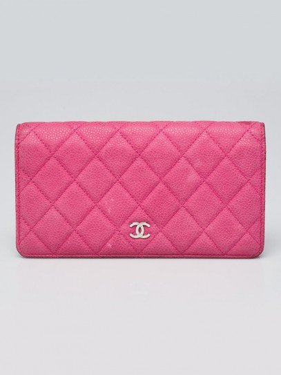 Chanel Hot Pink Quilted Matte Caviar Leather L Yen Wallet